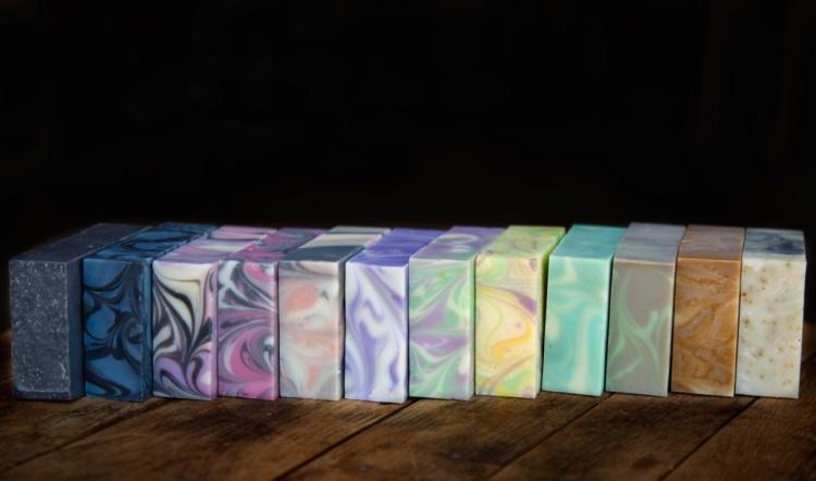 Lineup Of Bars of Sweet Tea 'N Biscuits soaps